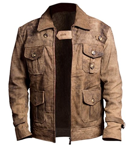 F&H Men's Expendables Jason Statham Genuine Distressed Leather Jacket brown