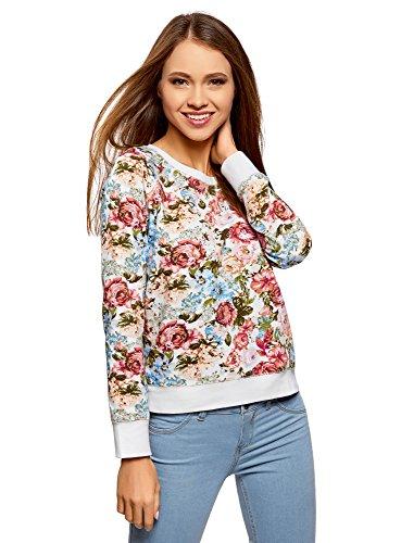 oodji Ultra Damen Bedrucktes Sweatshirt Basic, Mehrfarbig, DE 42 / EU 44 / XL