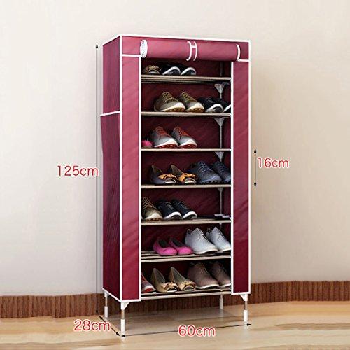 MMM& Chaussures en acier inoxydable Porte-bagages multiples Couche antidéflagrante Boîte à chaussures Salon à la maison Rangement en fer simple Balcon étagère ( Couleur : Vin rouge , taille : 8 layers-125cm )