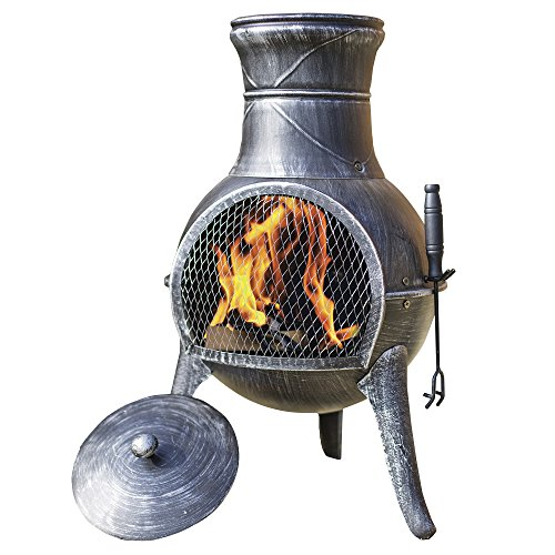 Torreon Steel Chimenea Set with Lid and Accessories � Cast Iron & Steel Fire Pit Wood Burner / Charcoal Burner for Outdoor Garden Fireplace, Patio Heater