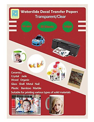 20Blatt DIY A4Inkjet Water Slide Aufkleber Transfer Papier Blatt transparent klar für Inkjet Drucker -