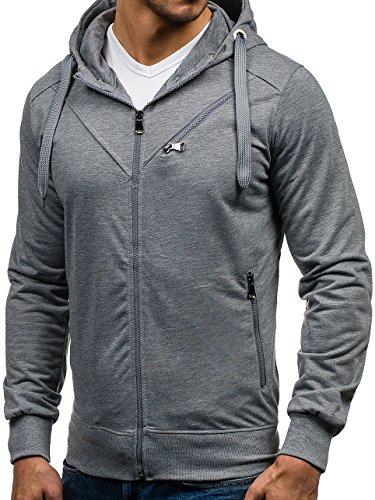 BOLF – Felpa – Cappuccio – Maniche lunghe – Sweat-shirt – Hoodie – Zip – Motivo – Uomo [1A1] Grigio