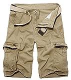 Panegy Herren Sommer Outdoor Cargo Shorts Baumwolle Multi-Tasche Bermuda Casual Vintage Kurze Hose Sommerhose Sporthose Knielänge Hosen