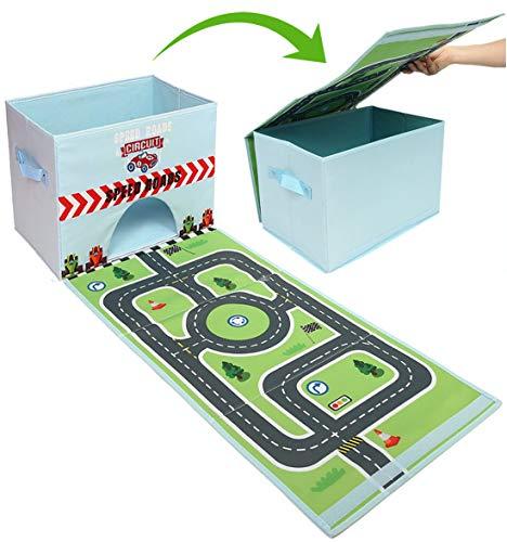 Buabi Caja arcón de Juguetes, se Convierte en Alfombra de Juegos (Carretera de Coches)