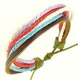 Herren Lederarmband dunkel braune Farbe & bunte Schnüre Leder-Armband / Leder Armband / Surf Armband - 90