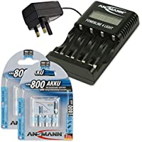 "ANSMANN Powerline 4 Light""UK & Euro"" Smart Battery Charger for AA & AAA Rechargeable Batteries + 8x ANSMANN 800mAh AAA Rechargeable Batteries preiswert"
