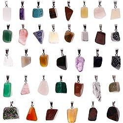 JuanYa Colgantes de piedras curativas irregulares, 60 piezas, con cuentas de cristal chakra para bricolaje, collares, joyería, varios colores