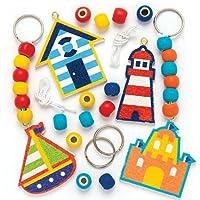 Kits de Porte-clés et de Breloques pour Sac en Bois Bord de Mer Que Les Enfants pourront décorer (Lot de 4)
