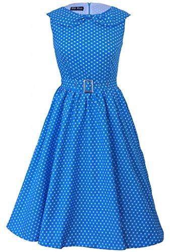 Robe de soirée vintage des années 50 - 60 de sytle Rockabily à pois et nœud rétro bleu clair