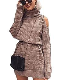 Maglione Vestito Collo Alto Donna Lungo Abito Maglioni Senza Spalline  Lunghi Pullover Abiti Maglieria Golfino Donna 80c8c61d7bb