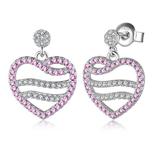 JewelryPalace Creato Rosa Zaffiro Cuore Orecchini Pendenti in Argento Sterling 925