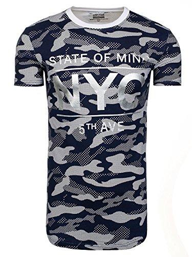 BOLF Herren T-Shirt Tee Kurzarm Army Camo Aufdruck Print 3D Slim fit 3C3 Motiv Blau_S124