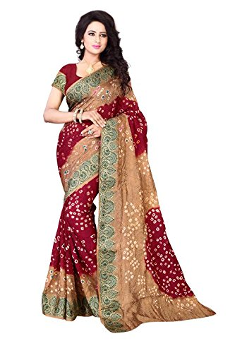 HOLYDAY WOMEN'S Ethnic Wear JACQUARD SILK BEIGE MAROON COLOUR BANDHEJ SAREE WITH...