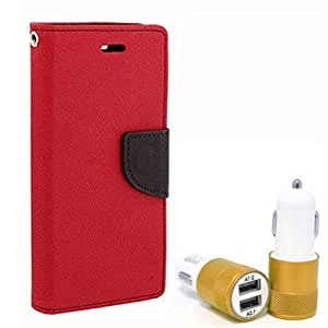 Aart Fancy Diary Card Wallet Flip Case Back Cover For LG g3 - (Red) + Dual ports USB car Charger With Ultra Power Technolgy by Aart Store.