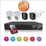 Anni CCTV cámaras Sistema 4CH 1080p DVR Kit Recorder, 4X 720p en/al Aire Libre cámaras, 25 m de visión Nocturna,Todo el Tiempo de adaptación a casa Sistemas de cámaras de Seguridad,con 1 TB