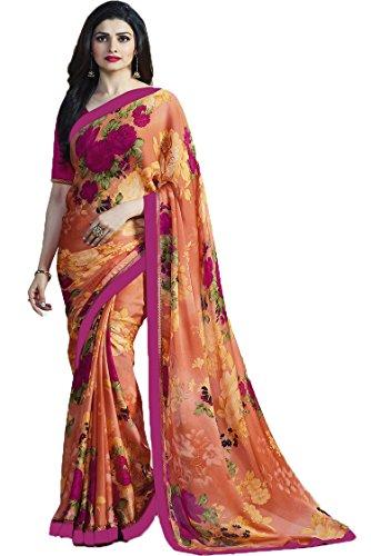 Nirjas Designer Women's Chiffon Saree With Blouse Piece (Fba Prachi-3001 A1-Saree_Orange)