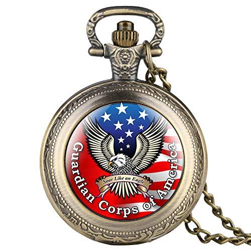 Vintage Bronze Quarz Taschenuhr für Herren, Einzigartige amerikanische Flagge Seeadler Muster leuchtende Aufnäher Uhren für Frauen, stilvolle Halskette Taschenuhren für Freunde