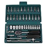 Sweepid Knarrenkasten 46tlg Steckschlüsselsatz Multikoffer Werkzeugkasten Ratschenkasten Steckschlüssel Werkzeugkoffer Werkzeug Set