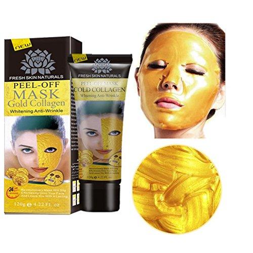 MRULIC Neue Gold Collagen Gesichts-Maske hohe Feuchtigkeit Anti Aging entfernen Falten Pflege Facial Mask (Rot Gold Maske Und)