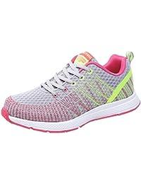 Sylar Zapatillas De Correr para Mujer Moda Estampado De Rayas Malla  Transpirable Cómodo Zapatillas De Cordones Zapatos Al Aire… f1d28c6de9b8a