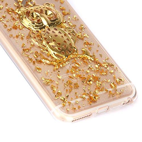 iPhone 6 Hülle,iPhone 6s Case,iPhone 6 Bling Case - Felfy Ultradünne Transparent Gel TPU Silikon Diamond Skin Bling Glitte Kristall Schutzfolie Glitzer Silber Silikon Crystal Case Durchsichtig Schutzh Golden Case Eule