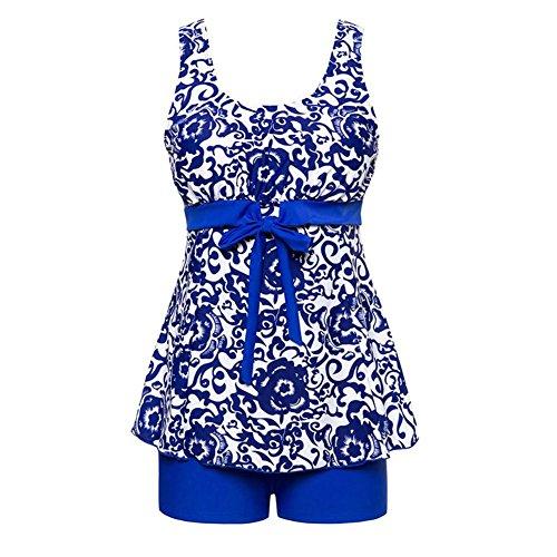 FeelinGirl Bikini Tankini Bademode Badeanzug Badekleid Strandkleid Neckholder Einteiliger Push up Badebekleidung mit Hotpants Bauchweg Top