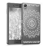 kwmobile Étui transparent élégant avec Design Fleurs pour Sony Xperia X en blanc transparent