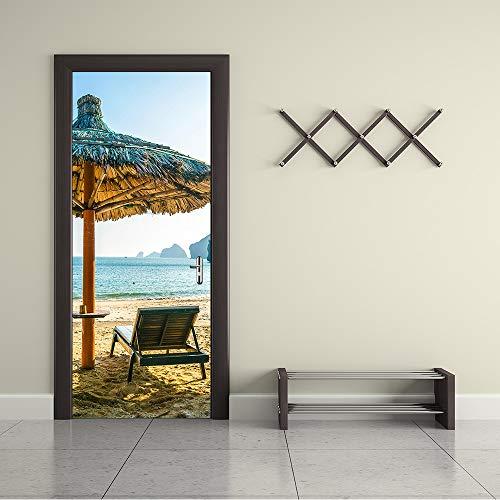 ERKEJI Murales de la Puerta Etiqueta engomada de la Pared del Paraguas de Playa 3D Arte de la Etiqueta engomada Mural de Fondo Decoratio