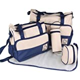 5pcs Baby Nappy Changing Bags Set in Dark Blue
