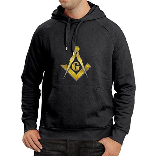 Kapuzenpullover Freimaurer - masonic - Symbole Winkel und Zirkel mit G (XX-Large Schwarz (Freimaurer Grad Kostüme)