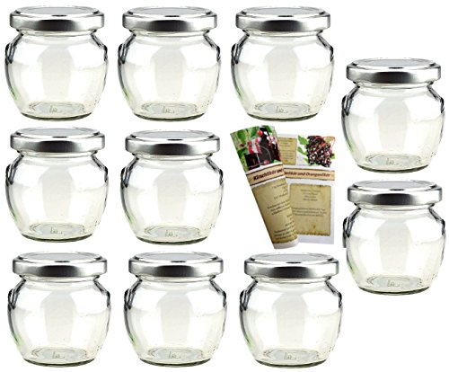"10 Einmachgläser ""Henkel"" 106 ml incl. Drehverschluss, Vorratsgläser, Marmeladengläser, Einweckgläser (10,106,Silber)"
