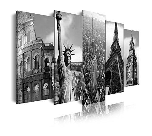 DEKOARTE 106 - Cuadro Moderno en Lienzo de 5 Piezas, monumentos Famosos, Estatua de la Libertad, Coliseo Romano, Torre Eiffel, Big Ben y Empire State, 150x80cm