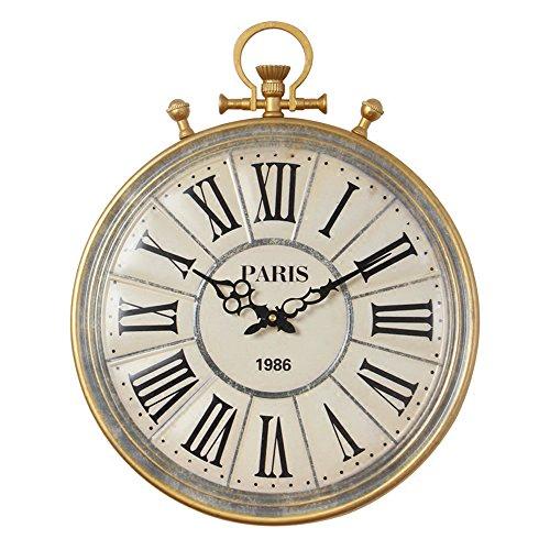 Schlafzimmer Antik Stil Uhr (Taschenuhr Stil Wanduhr 40cm Größe Runde Nordische Wanduhren Persönlichkeit Retro Antike Schlafzimmer Stummen Restaurant Wohnzimmer Hängende Einfache Tischuhr Uhr AA (Enthält keine Batterie))