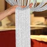 AeMBe - SPAGHETTI - Tenda della stringa, Tenda Filo, Tenda della Porta - Larghezza: 150 cm, Altezza: 250 cm - Bianco / Argento - Più Di Alta Qualità