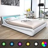 Festnight Cadre de lit en Cuir synthétique avec LED 160 x 200 cm blanc