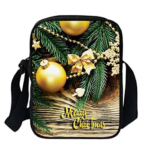 Flamedre - Weihnachten 3D Taschen Frauenmode Einzelne Schulter-Kuriertaschen der großen Kapazität Lässige Umhängetasche mit großer Kapazität Damen Elegante Handtasche Bowling Stil Tote Henkeltasche