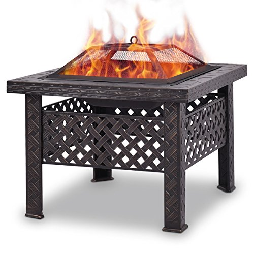 COSTWAY Outdoor Fire Pit Square Firepit Patio Heater Brazier Garden Square Stove Chiminea BBQ W/Poker Mesh Cover Spark Guard (Square)