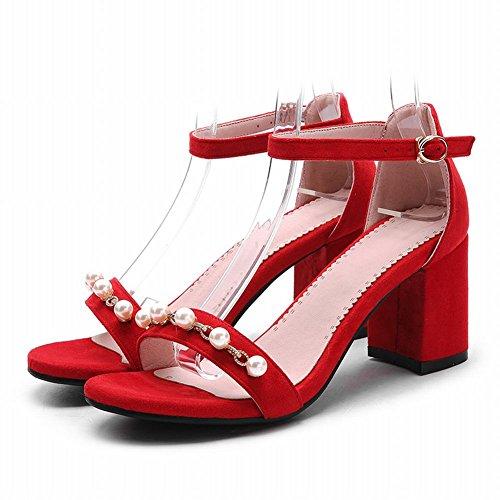 MissSaSa Donna Sandali col Tacco Blocco Alto Moda e Bella Rosso