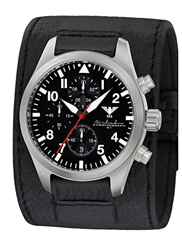 Airleader Steel Chronograph KHS Airsc. LK KHS Tactical Watch – Stainless Steel – Leather Band Watch, Aviator Watch