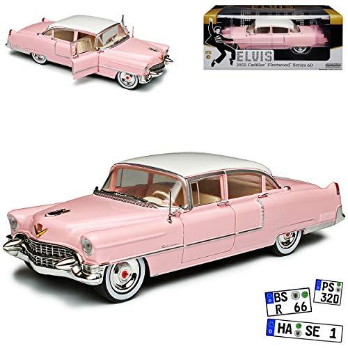 Greenlight Cadilac Fleetwood Serie 60 Elvis Presley Limousine Pink mit Silber Felgen 1955 1/24 Modell Auto mit individiuellem Wunschkennzeichen