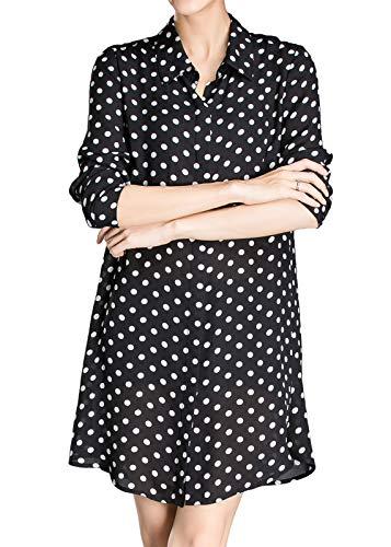 Luna et Margarita Camisa Negra Vestido de Lunares túnica Manga Larga con Botones con Cuello Talla 48