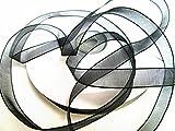 50 m Organza -Schleifenband in 6 mm Breite mit Webkante (Schwarz)