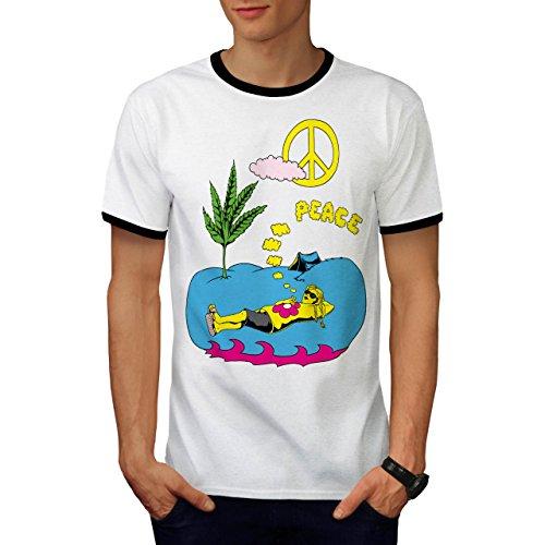 Frieden Blatt 420 Gras Rasta Camping Mädchen Herren L Ringer T-shirt | Wellcoda (Krebs-ringer)