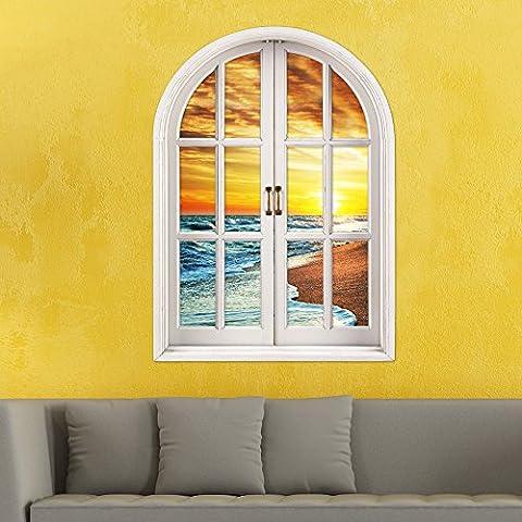 WEIAN3D tre dimensionale da parete finestra adesivi finestra griglia simulazione (Surf spiaggia sole) spiegano pittura decorativa soggiorno camera da letto anche ad alta definizione tre dimensionale adesivo da parete, 80 * 58cm-80 * 58cm