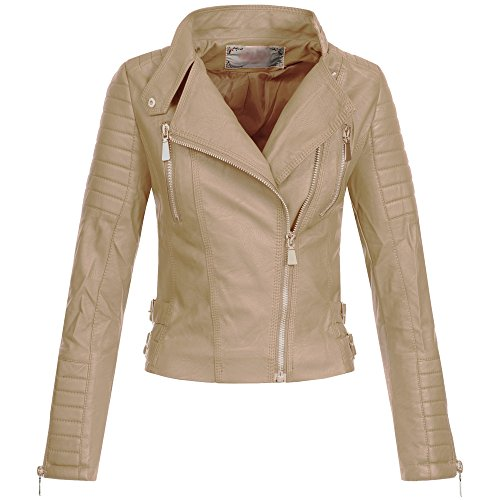Ausnahme-Zustand AZ Damen Kunst-Lederjacke Übergangsjacke Jacke Bikerjacke gesteppt 17069 S-XL, Größe:M;Farbe:Schwarz