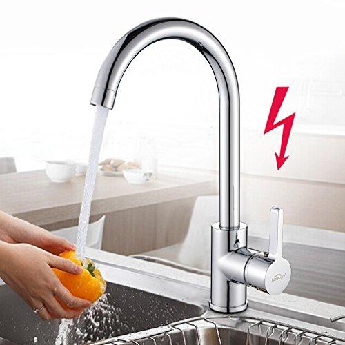 AuraLum 360° Drehbar Niederdruck Wasserhahn Niederdruck Mischbatterie Küchenarmatur