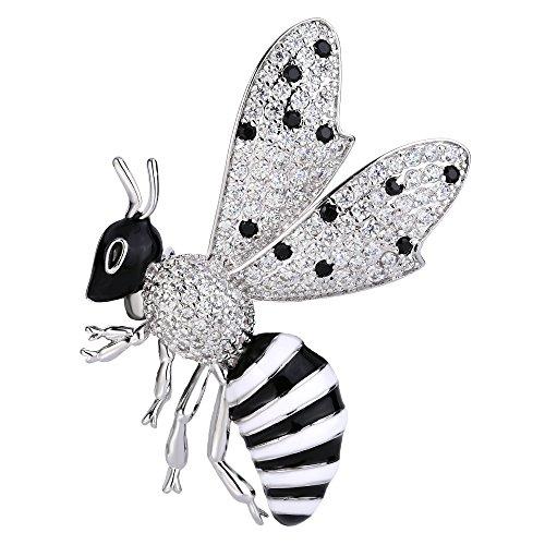TENYE österreichisch Kristall weiss Emaille lieblich fluegen Biene Insekt Tier Brosche klar Silber-Ton