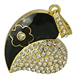16GB Diamond Crystal Heart Pendand Novelty High Speed USB 2.0 Flash Storage Drive Memory Stick Pen Stick U disk Pendrive Gift for girl (Black)