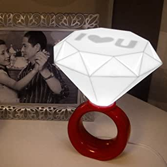 Red - Romantic Diamond Ring Shaped Desk Table Floor LED Lamp Home Decoration Lover Valentines Day's Gift