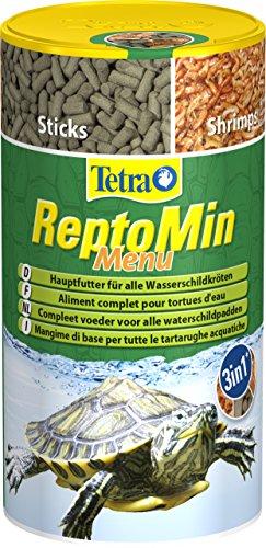 Tetra ReptoMin Menu Hauptfuttermix (in drei verschiedenen Formen, schwimmfähige Futtersticks für Wasserschildkröten mit Pellets, Krill und Shrimps), 250 ml Dose